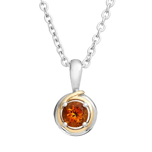Citrine Sterling Silver Circle Pendant Necklace
