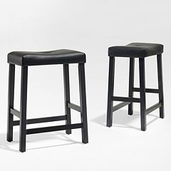 Crosley Furniture 2 pc Saddle Seat Counter Stool Set