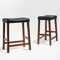 Crosley Furniture 2 pc Saddle Seat Counter Stool Set
