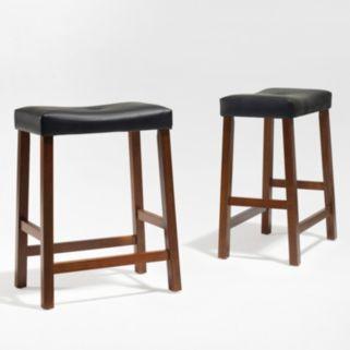 Crosley Furniture 2-piece Saddle Seat Counter Stool Set
