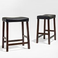 Crosley Furniture 2-piece Saddle Seat Counter Stool Set