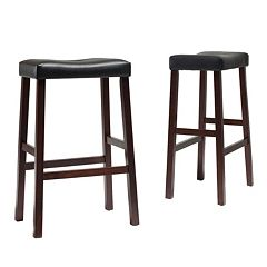 Crosley Furniture 2 pc Saddle Seat Bar Stool Set