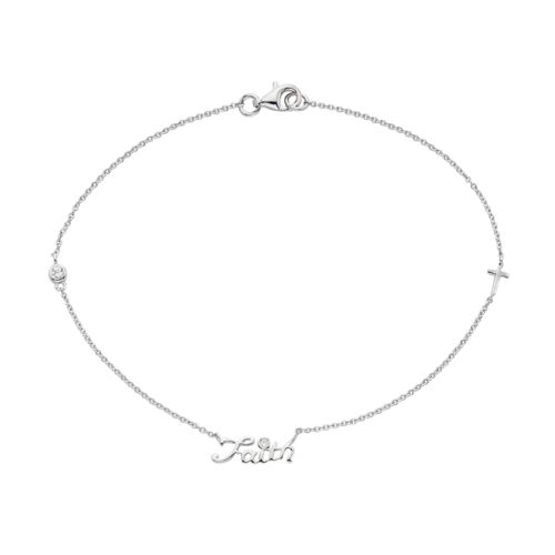 "Cubic Zirconia Sterling Silver ""Faith"" Anklet"