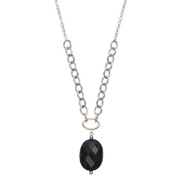 Onyx Sterling Silver Oval Necklace