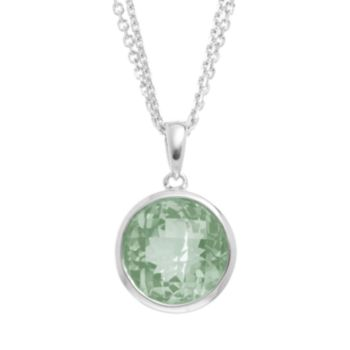 Green Quartz Sterling Silver Circle Pendant Necklace