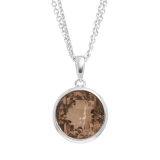 Smoky Quartz Sterling Silver Circle Pendant Necklace