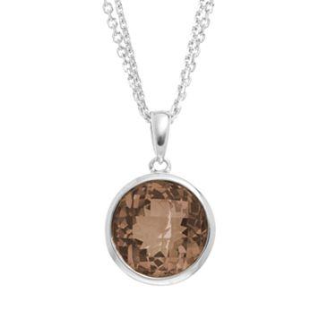 Smoky Quartz Sterling Silver Circle Pendant Necklace