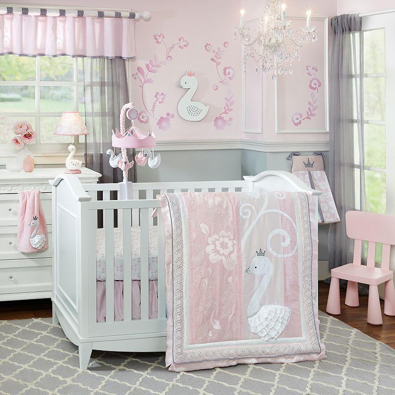 Lambs & Ivy Swan Lake 4-pc. Crib Bedding Set, White/Green (White/Ivy)