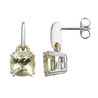 Lemon Quartz Sterling Silver Square Stud Earrings
