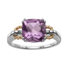 Amethyst Sterling Silver and 18k Gold Over Silver Ring