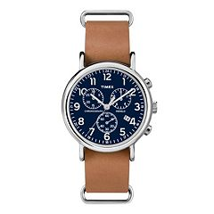 Timex Men's Weekender Leather Chronograph Watch - TW2P62300JT