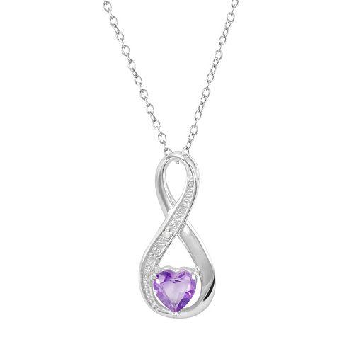 RADIANT GEM Amethyst Sterling Silver Infinity Pendant Necklace