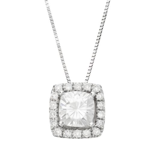Forever Brilliant 1 1/4 Carat T.W. Lab-Created Moissanite 14k White Gold Halo Pendant Necklace