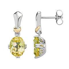 Lemon Quartz Sterling Silver Oval Drop Earrings