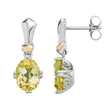 Lemon Quartz Sterling Silver Oval Drop Earrings