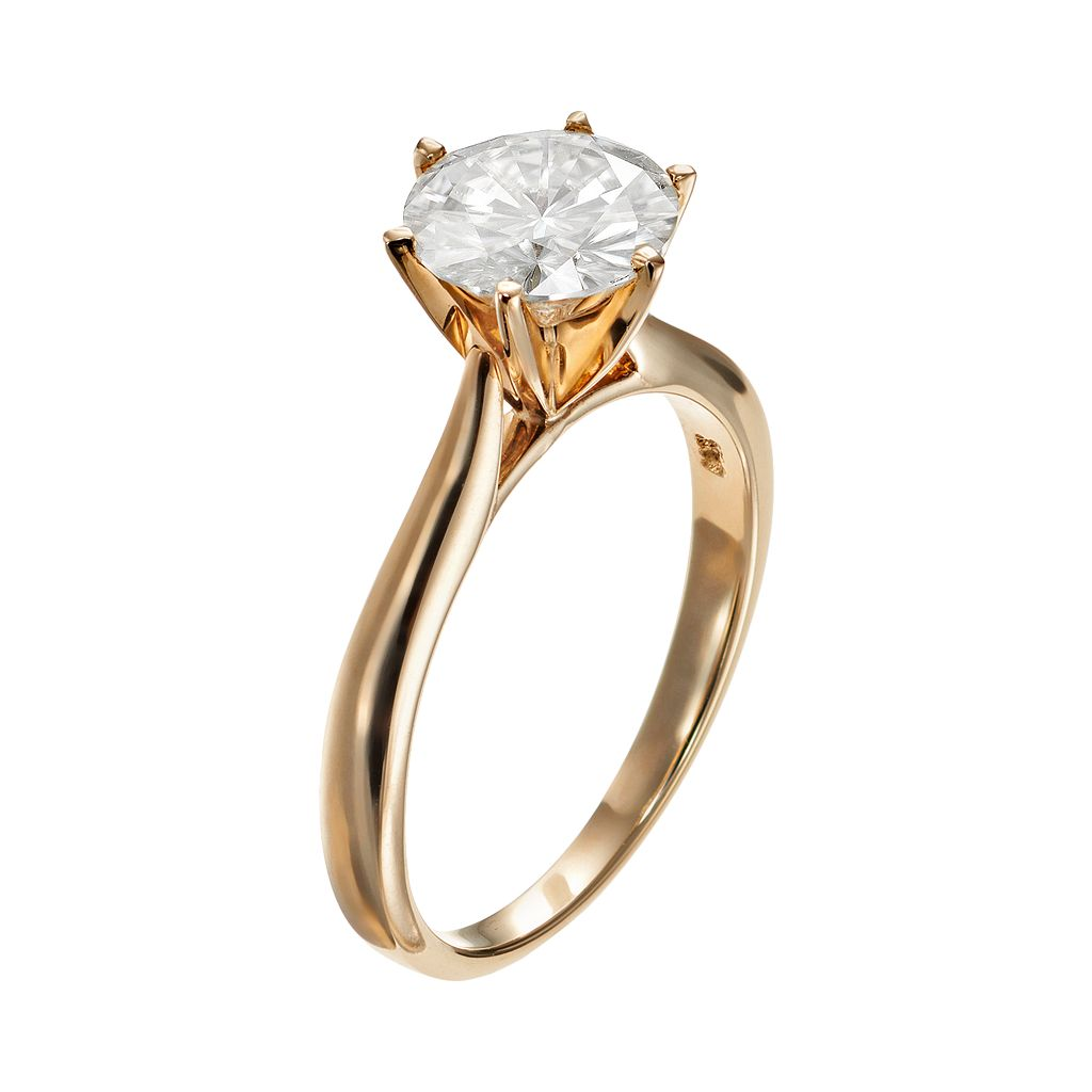 Forever Brilliant 1 9/10 Carat T.W. Lab-Created Moissanite 14k Gold Solitaire Ring