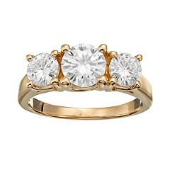 Forever Brilliant 2 Carat T.W. Lab-Created Moissanite 14k Gold 3-Stone Ring