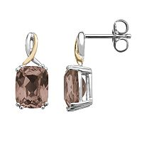 Smoky Quartz Sterling Silver Rectangle Drop Earrings