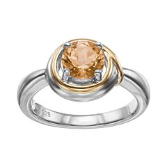 Citrine Sterling Silver & 18k Gold Over Silver Ring by