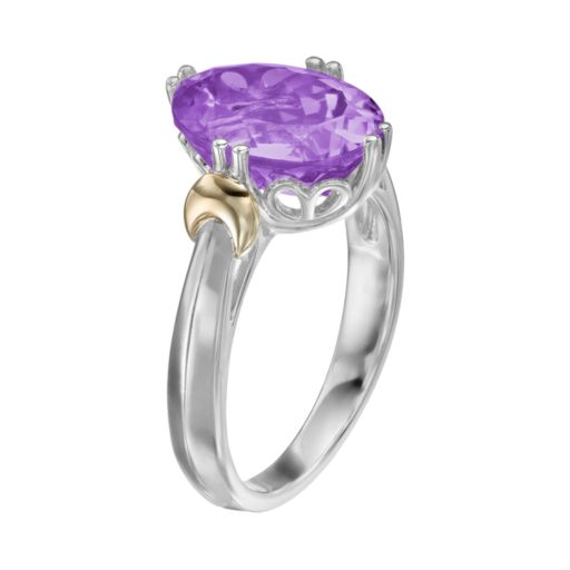 Amethyst Sterling Silver Oval Ring