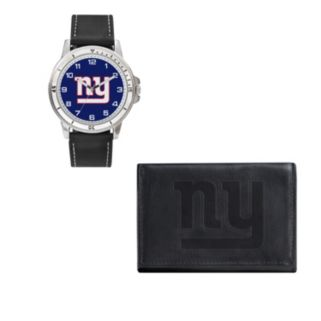 New York Giants Black Watch & Trifold Wallet Gift Set