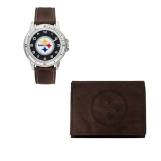 Pittsburgh Steelers Watch & Trifold Wallet Gift Set
