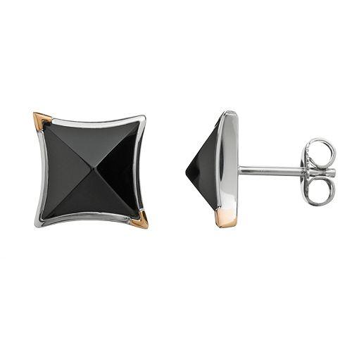 Onyx Sterling Silver Square Stud Earrings