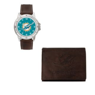 Miami Dolphins Watch & Trifold Wallet Gift Set