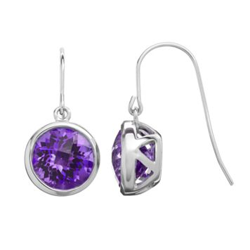 Amethyst Sterling Silver Circle Drop Earrings