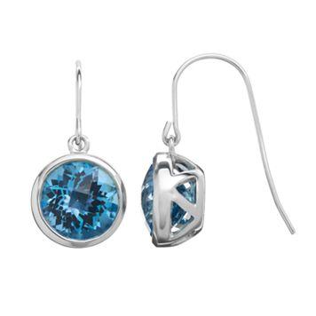 Blue Topaz Sterling Silver Circle Drop Earrings