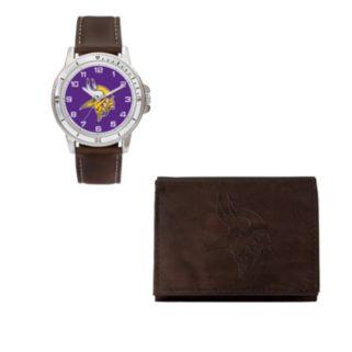 Minnesota Vikings Watch & Trifold Wallet Gift Set