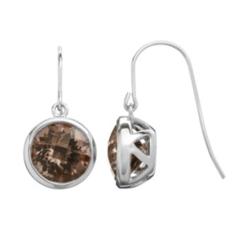 Smoky Quartz Sterling Silver Circle Drop Earrings