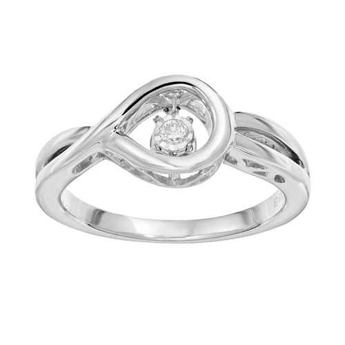 Brilliance in Motion Diamond Accent Sterling Silver Loop Ring