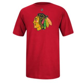 Men's Reebok Chicago Blackhawks Marian Hossa HD Replica Player Name and Number Tee