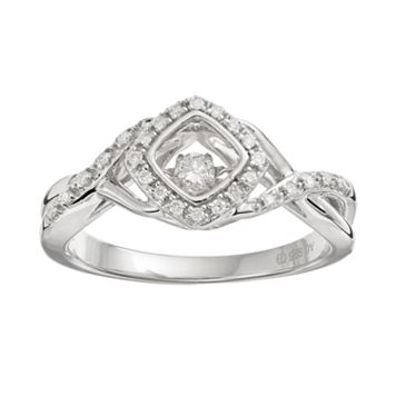 Brilliance in Motion 1/8 Carat T.W. Diamond Sterling Silver Crisscross Square Halo Ring
