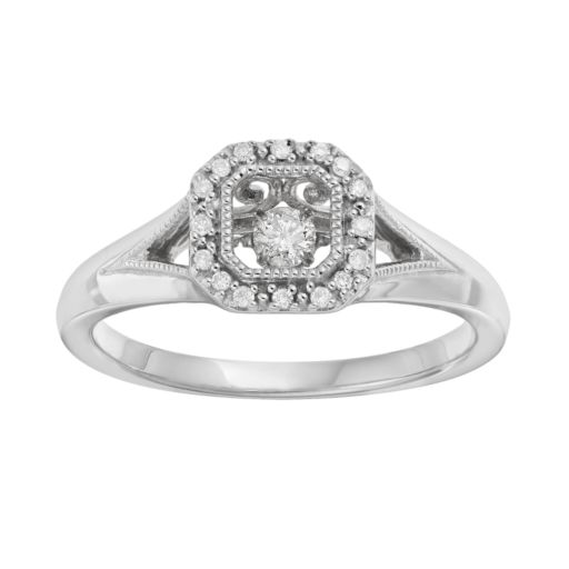 Brilliance in Motion 1/8 Carat T.W. Diamond Sterling Silver Square Halo Ring