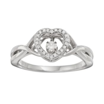Brilliance in Motion 1/8 Carat T.W. Diamond Sterling Silver Heart Halo Ring