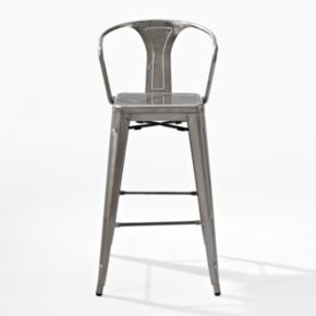 Crosley Furniture 2-piece Amelia Galvanized Bar Chair Set