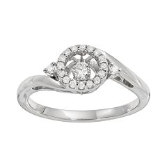 Brilliance in Motion 1/5 Carat T.W. Diamond Sterling Silver Halo Ring