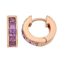 Amethyst 14k Rose Gold Over Silver Huggie Hoop Earrings