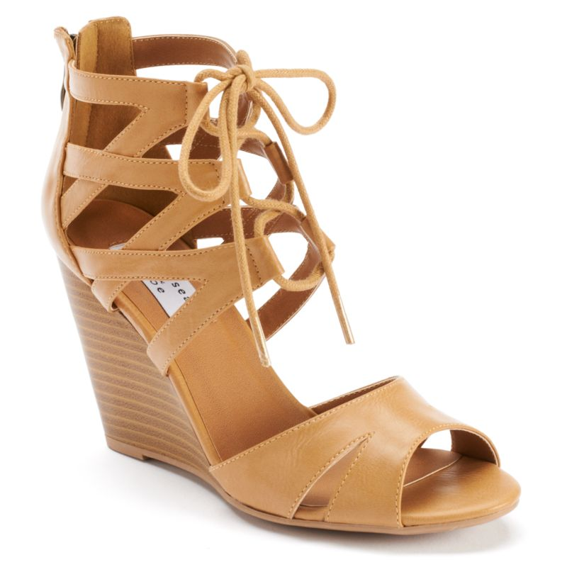 White Lace Sandals Lace-up Wedge Sandals
