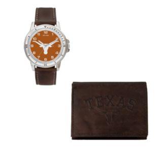 Texas Longhorns Watch & Trifold Wallet Gift Set