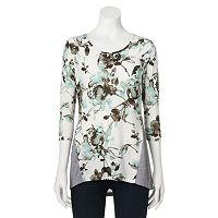 Petite Sag Harbor Printed Drop-Tail Hem Top