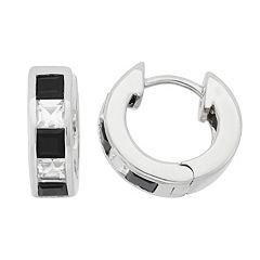 Onyx & Lab-Created White Sapphire Sterling Silver Huggie Hoop Earrings