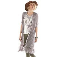 Rock & Republic® Open-Work Fringe Cardigan - Women's