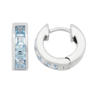 Lab-Created Aquamarine Sterling Silver Huggie Hoop Earrings