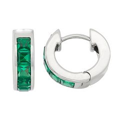 Lab-Created Emerald Sterling Silver Huggie Hoop Earrings
