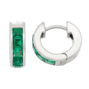 Lab-Created Emerald Sterling Silver Huggie Hoop Earrings