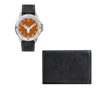 Texas Longhorns Watch & Trifold Wallet Gift Set