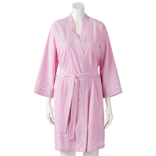 provide plenty of bright in luster look good shoes sale Women's Miss Elaine Essentials Seersucker Wrap Robe